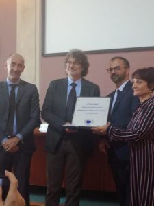 From lef to right: Dr Jean-Eric Paquet, general director for DGRI (EC),<br /> Dr Massimo Cocco, EPOS coordinator, Prof. Lorenzo Fioramonti, deputy minister for science and education (Italy) and Dr. Carmela Freda, EPOS director.