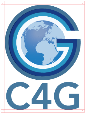 For a usage that demands logo resizing lower than 6,5 x 9,92 cm (landscape version) and lower than 13,45 x 6,5 cm (portrait version), use the version on this page with the icon and the written C4G.